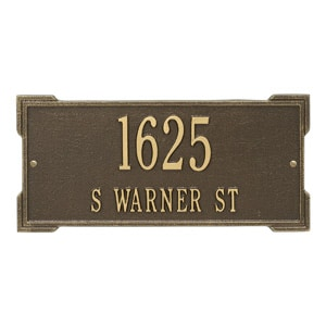 Whitehall Roanoke Address Plaque Antique Bronze