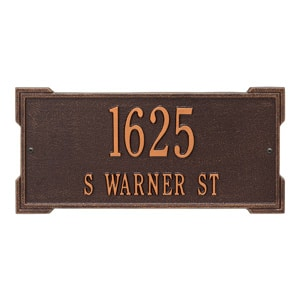 Whitehall Roanoke Address Plaque Antique Copper