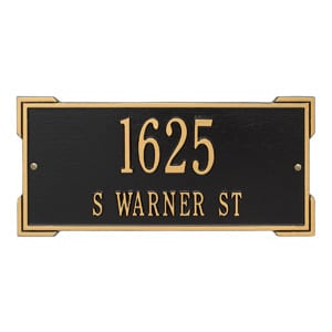 Whitehall Roanoke Address Plaque Black Gold
