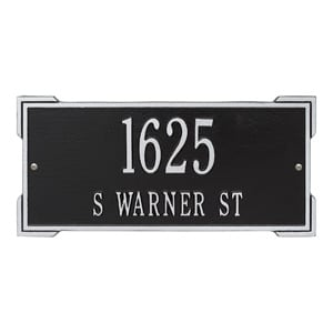 Whitehall Roanoke Address Plaque Black Silver