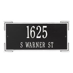 Whitehall Roanoke Address Plaque Black White