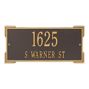 Whitehall Roanoke Address Plaque Bronze Gold