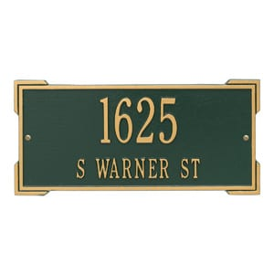 Whitehall Roanoke Address Plaque Green Gold