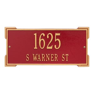 Whitehall Roanoke Address Plaque Red Gold