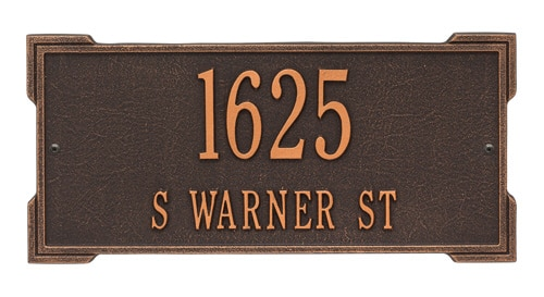 Whitehall Roanoke Rectangle Address Plaque