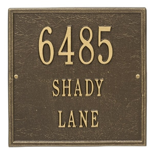 Whitehall Square Address Plaque Antique Bronze