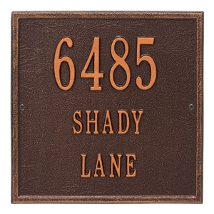 Whitehall Square Address Plaque Antique Copper