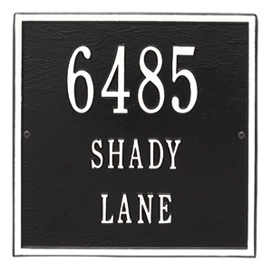 Whitehall Square Address Plaque Black White