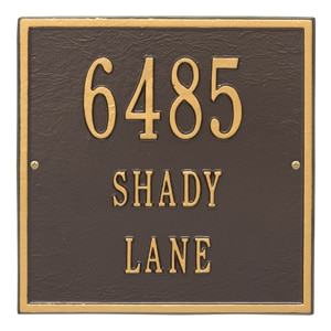 Whitehall Square Address Plaque Bronze Gold