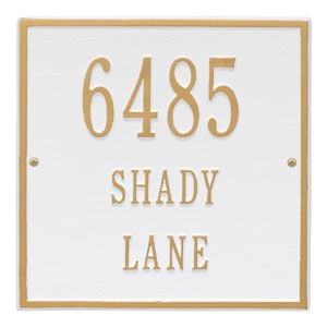 Whitehall Square Address Plaque White Gold