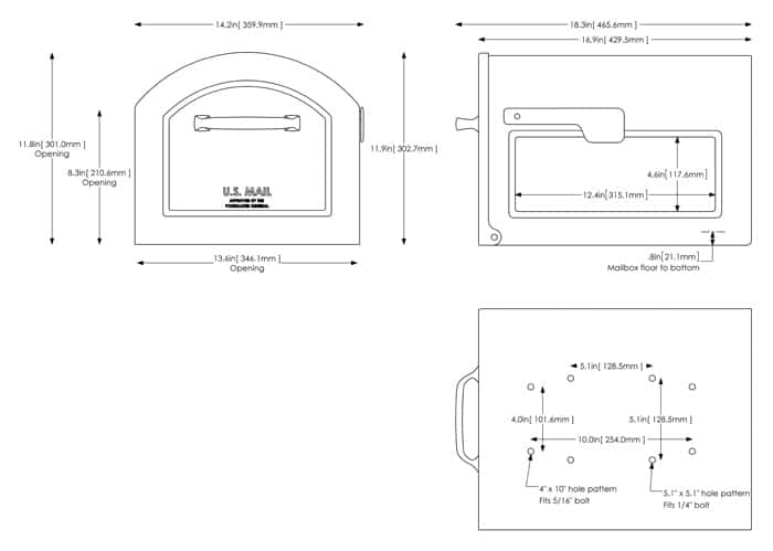 Mailbox flag dimensions Lock Part Specs Home Depot Centennial Mailbox With Basic Post With Decorative Cover