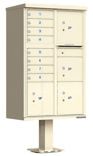 4 Door Parcel Locker with 8 Door CBU Cluster Mailbox
