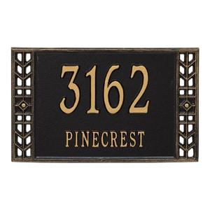 Whitehall Boston Address Plaque Black Gold