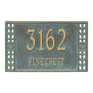 Whitehall Boston Address Plaque Bronze Verdigris