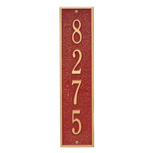 Whitehall Delaware Vertical Plaque Red Gold