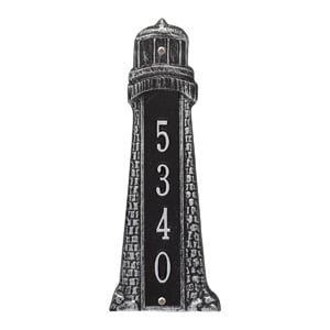 Whitehall Lighthouse Vertical Plaque Black Silver