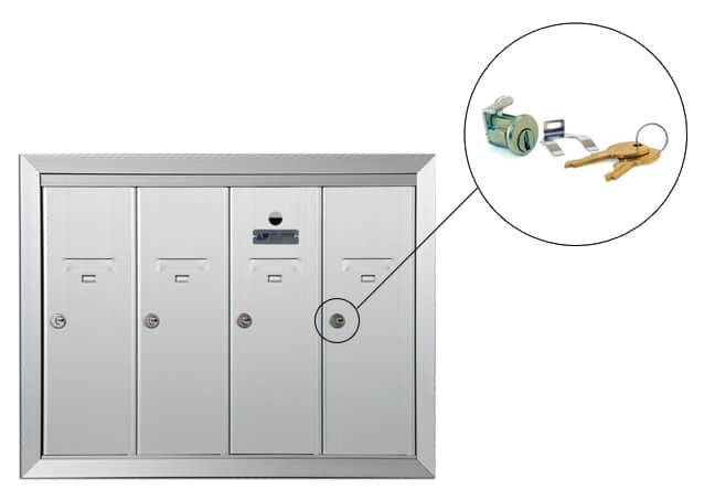 Florence 1250 Series Vertical Mailbox Replacement Tenant Door Lock Part Example
