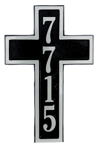 Majestic Cross Shaped Aluminum Address Plaque