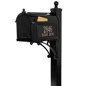 Whitehall Deluxe Mailbox Package Black Gold