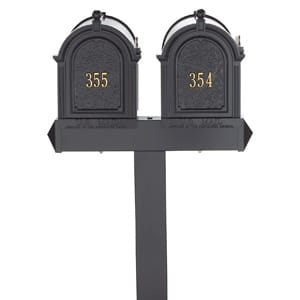 Whitehall Mailboxes Dual Post Black Gold