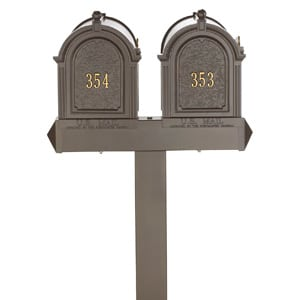 Whitehall Mailboxes Dual Mount Post Bronze