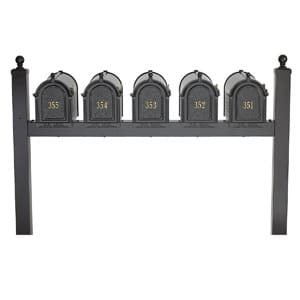 Whitehall Mailboxes Quint Post Black Gold