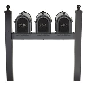 Whitehall Mailboxes Triple Post Black Silver