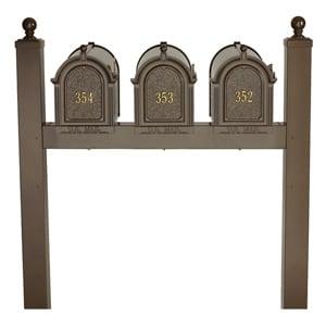 Whitehall Mailboxes Triple Mount Post Bronze