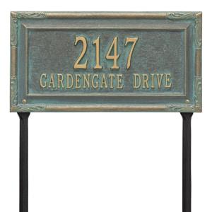 Whitehall Gardengate Lawn Marker Bronze Verdigris