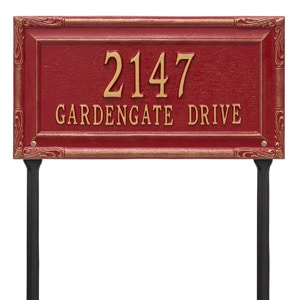 Whitehall Gardengate Lawn Marker Red Gold