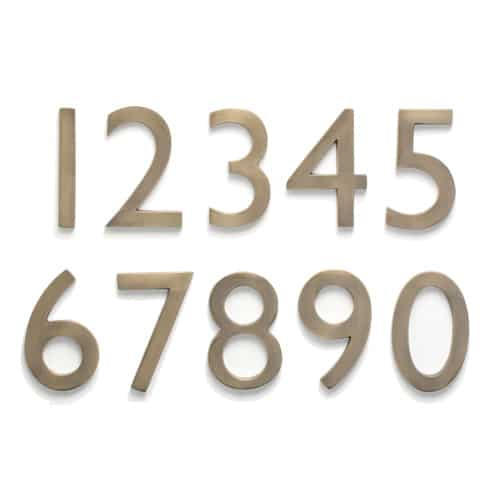 Laguna Antique Brass 4 Inch House Numbers - Quick Ship Address Plaques And House Numbers For Sale