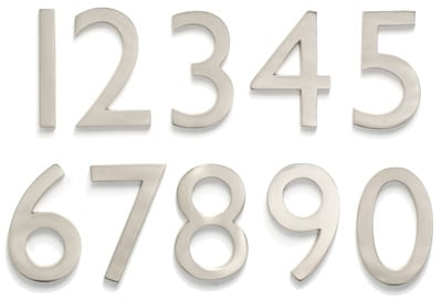 Laguna Satin Nickel Address House Numbers