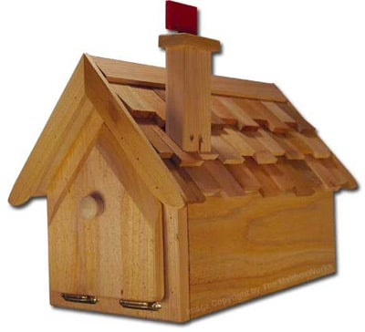 Cedar House Shaped Mailboxes with Optional Posts
