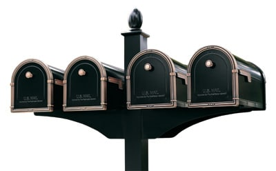Architectural Coronado Mailboxes Quad Deluxe Post