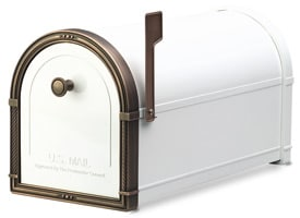 Coronado Mailbox White Antique Copper