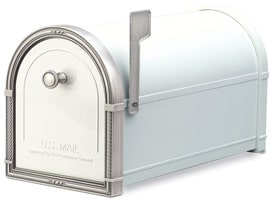 Coronado Mailbox White Antique Nickel