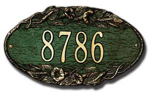 Whitehall Morning Glory Oval Address Plaque