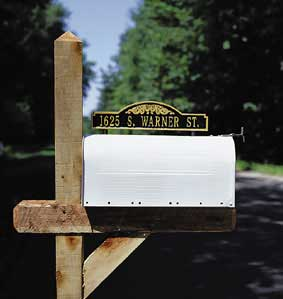 Whitehall Mailbox Scroll Marker Address Plaque