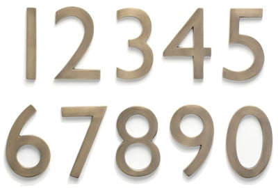 Laguna Antique Brass Address House Numbers