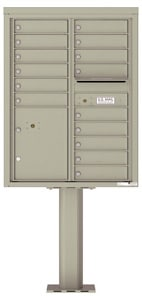 Florence 4C Pedestal 4C11D-15-P Postal Grey