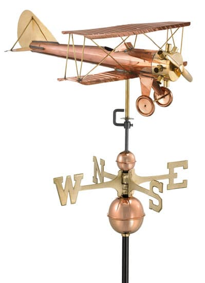 Good Directions Copper Biplane Weathervane