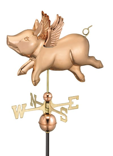Good Directions Copper Flying Pig Weathervane