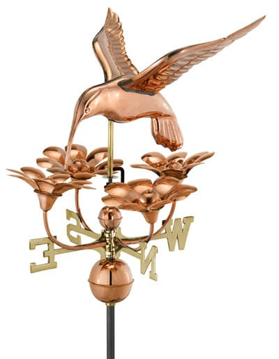 Good Directions Copper Hummingbird Flowers Weathervane