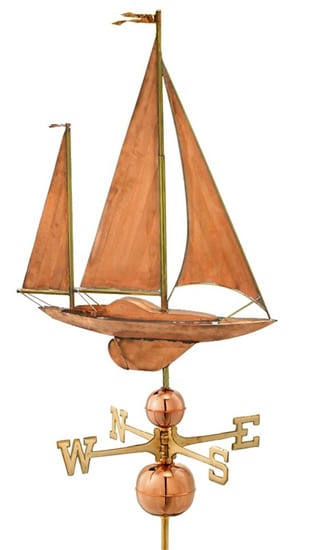 Good Directions Copper Large Sailboat Weathervane