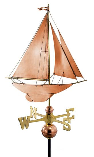 Good Directions Copper Racing Sloop Weathervane