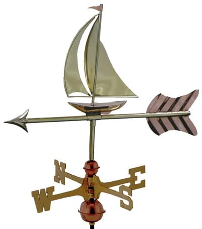 Good Directions Copper Sailboat Cottage Weathervane
