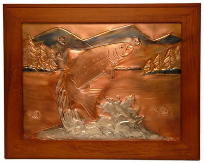 Hentzi Framed Copper Brook Trout Art
