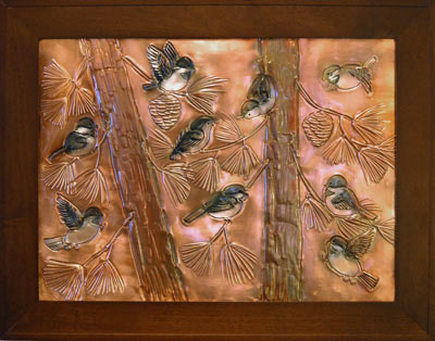 Hentzi Framed Copper Chickadees Fireplace Art