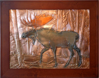 Hentzi Framed Copper Moose Fireplace Art