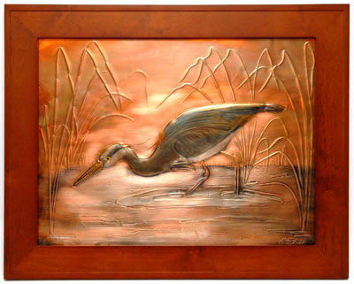 Hentzi Framed Copper Peaceful Heron Art